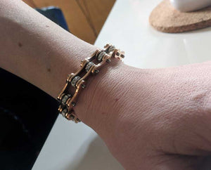 "Doris's 18k Rose Gold Plated ""Crystal Biker"" Bracelet"