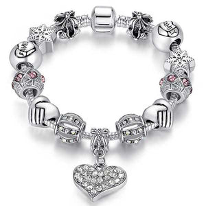 "925 Sterling Silver ""Charmed Heart"" Womens Bracelet - Blown Biker - 1"