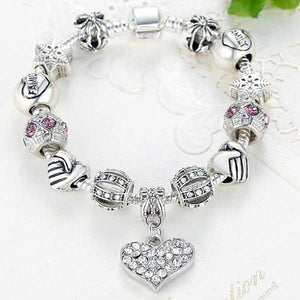 "925 Sterling Silver ""Charmed Heart"" Womens Bracelet - Blown Biker - 2"