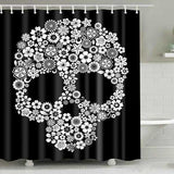 "Printed ""Skulls"" Full Length Shower Curtain - Blown Biker - 1"