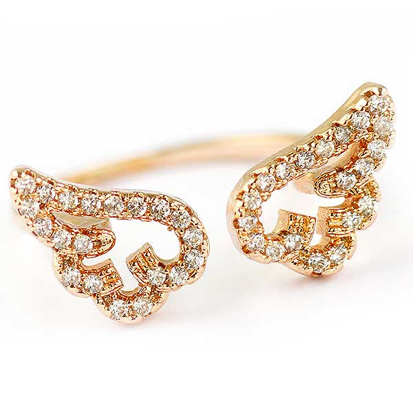 "Rose Gold ""Crystal Angel Wings"" Womens Ring"