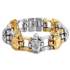 "316L Stainless Steel ""Luxury Skulls"" Bracelet - Blown Biker - 3"