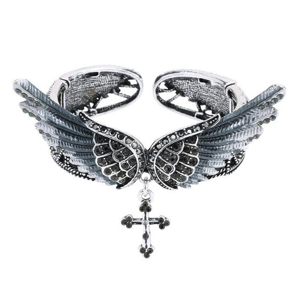 Winged Cross Stretch Bracelet w/ Crystals
