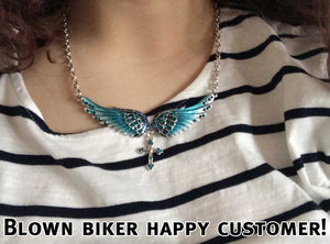 "Antique Silver Plated ""Angel Wings"" Cross Necklace - Blown Biker - 4"