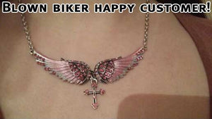 "Antique Silver Plated ""Angel Wings"" Cross Necklace - Blown Biker - 7"