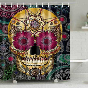 "Printed ""Skulls"" Full Length Shower Curtain - Blown Biker - 2"