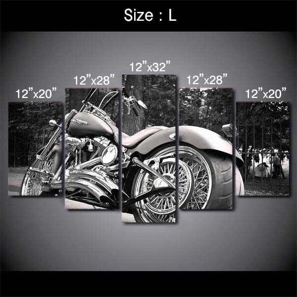 "5 Piece ""Harley Davidson"" Printed Wall Canvas Set - Blown Biker - 5"