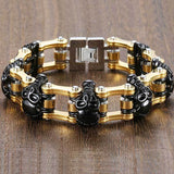 "316L Stainless Steel ""Luxury Skulls"" Bracelet - Blown Biker - 1"