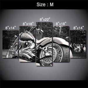 "5 Piece ""Harley Davidson"" Printed Wall Canvas Set - Blown Biker - 4"