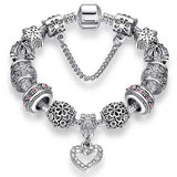 "925 Sterling Silver ""Charmed Heart"" Womens Bracelet - Blown Biker - 8"