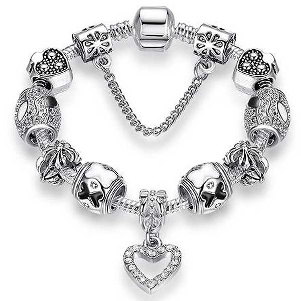 "925 Sterling Silver ""Charmed Heart"" Womens Bracelet - Blown Biker - 7"