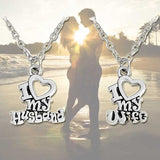 I Love My Husband/Wife Pendant Necklace Set