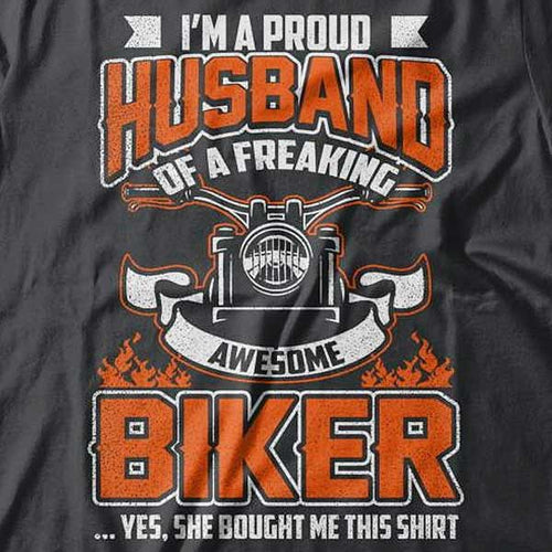 Proud Husband T-Shirt (Front Print) - Blown Biker - 1