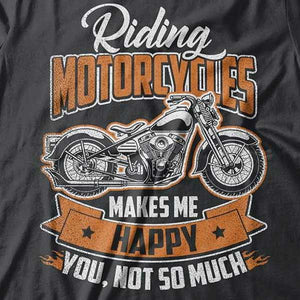 Riding Motorcycles T-Shirt (Front Print) - Blown Biker - 1