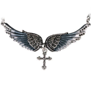 "Antique Silver Plated ""Angel Wings"" Cross Necklace - Blown Biker - 2"