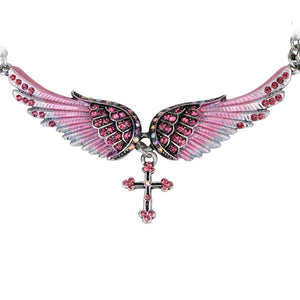 "Antique Silver Plated ""Angel Wings"" Cross Necklace - Blown Biker - 6"