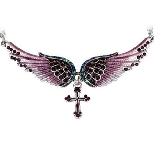 "Antique Silver Plated ""Angel Wings"" Cross Necklace - Blown Biker - 5"