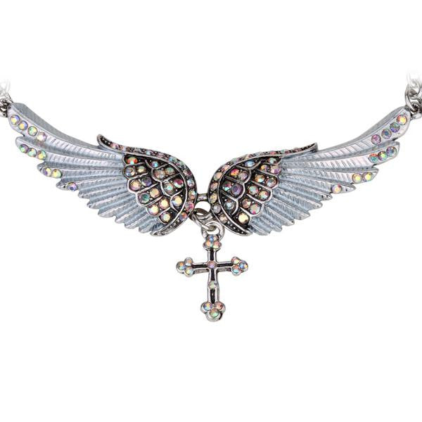 "Antique Silver Plated ""Angel Wings"" Cross Necklace - Blown Biker - 1"