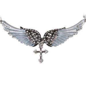 "Antique Silver Plated ""Angel Wings"" Cross Necklace - Blown Biker - 8"