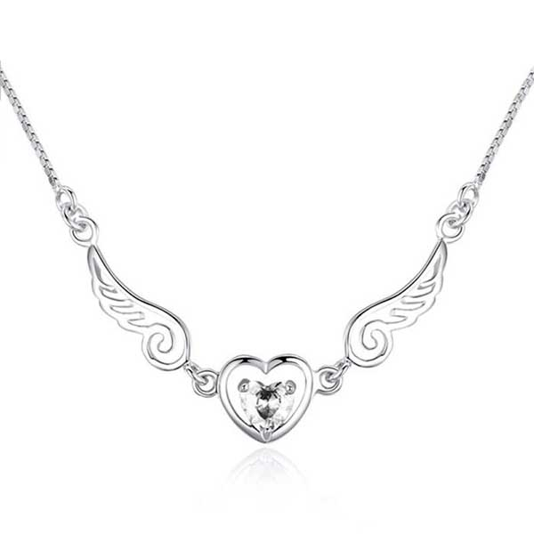 "Silver Plated ""Goddess Of Victory"" Angel Wings Necklace"