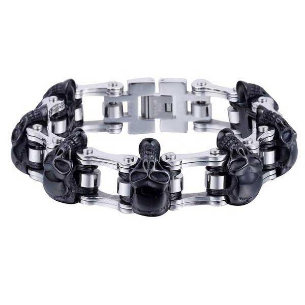 "316L Stainless Steel ""Luxury Skulls"" Bracelet - Blown Biker - 2"