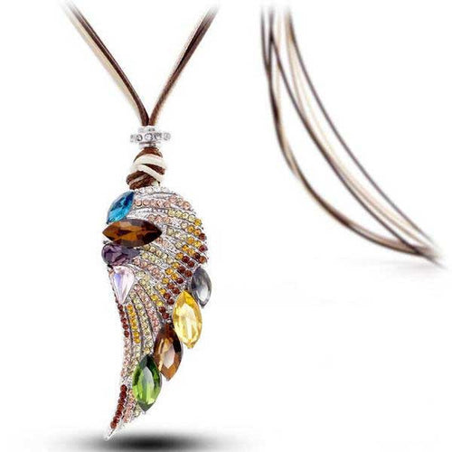 18k Rose Gold Plated Luxury Crystal Feather Necklace