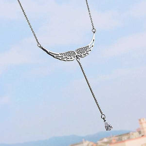"925 Sterling Silver ""Angel Tears"" Pendant Necklace - Blown Biker - 9"