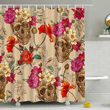 "Printed ""Skulls"" Full Length Shower Curtain - Blown Biker - 4"