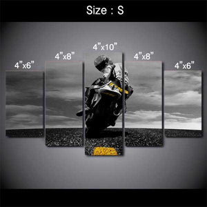 "5 Piece ""Biker"" Printed Wall Canvas Set - Blown Biker - 1"