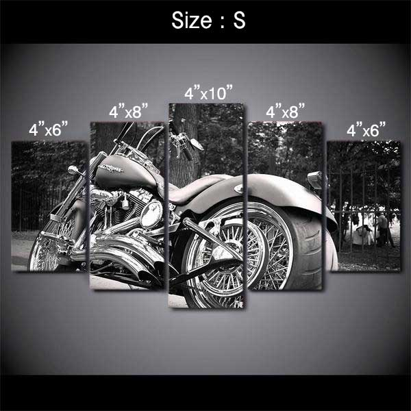 "5 Piece ""Harley Davidson"" Printed Wall Canvas Set - Blown Biker - 1"