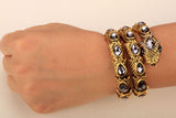 "Antique Gold / Silver ""Stretch Snake"" Bracelet / Upper Arm Cuff - Blown Biker - 6"