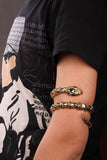 "Antique Gold / Silver ""Stretch Snake"" Bracelet / Upper Arm Cuff - Blown Biker - 7"