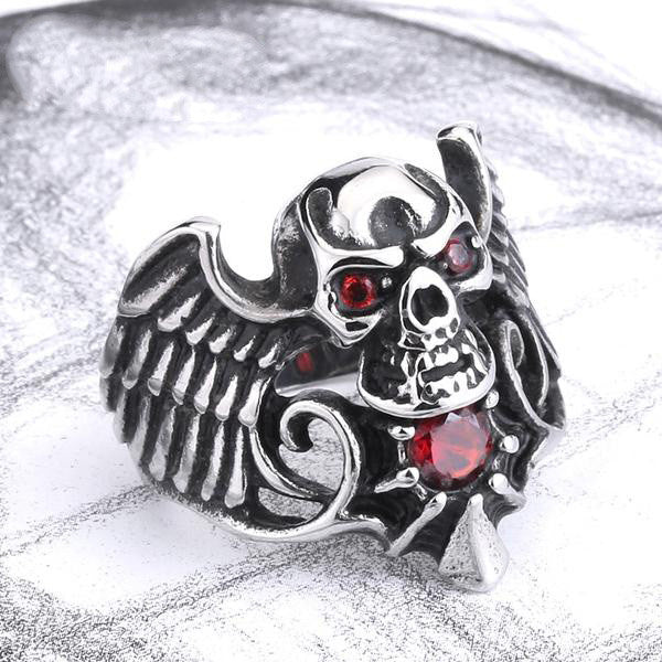 "316L Stainless Steel ""Winged Skull"" Ring"