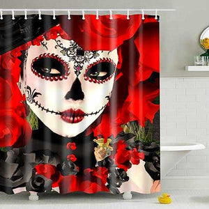 "Printed ""Skulls"" Full Length Shower Curtain - Blown Biker - 5"