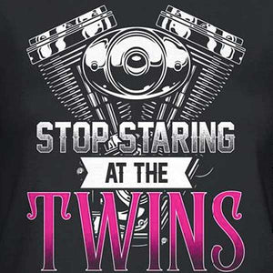 Stop Staring At The Twins T-Shirt - Blown Biker - 1