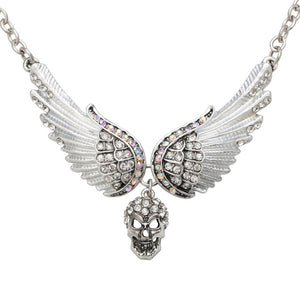 "Antique Silver Plated ""Winged Skull"" Pendant Necklace - Blown Biker - 8"