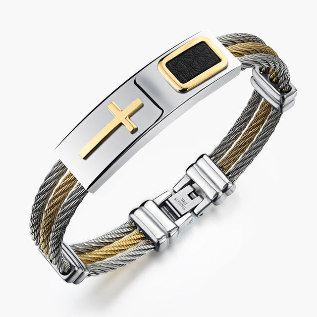 "Premium Gold Stainless Steel ""Cross"" Bracelet - Blown Biker - 5"