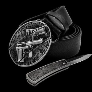 Leather Self Defence Belt with Hidden Knife - Blown Biker - 4