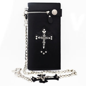 "Leather ""Skull Cross"" Bifold Wallet w/ Chain - Blown  Biker - 5"