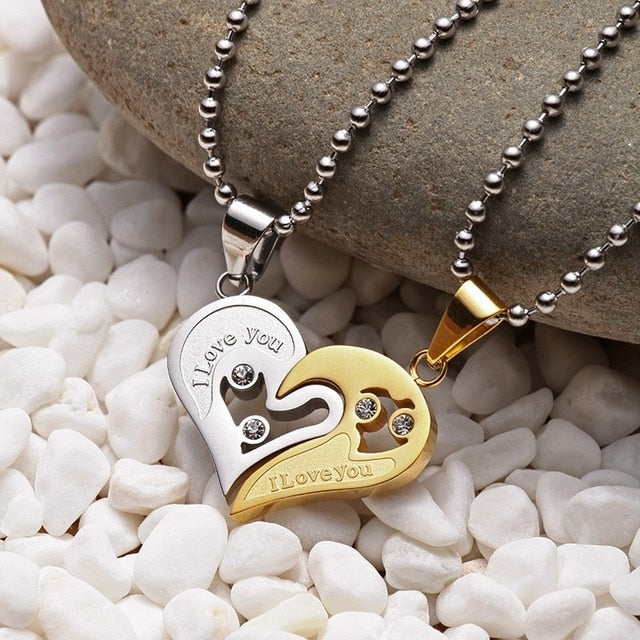"His & Hers Split Heart ""I Love You"" Twin Necklace Set"