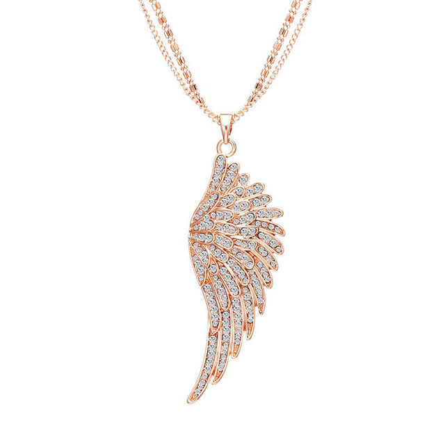 "Rose Gold Angel Wings ""Feather"" Pendant Necklace - Blown Biker - 6"