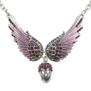 "Antique Silver Plated ""Winged Skull"" Pendant Necklace - Blown Biker - 10"