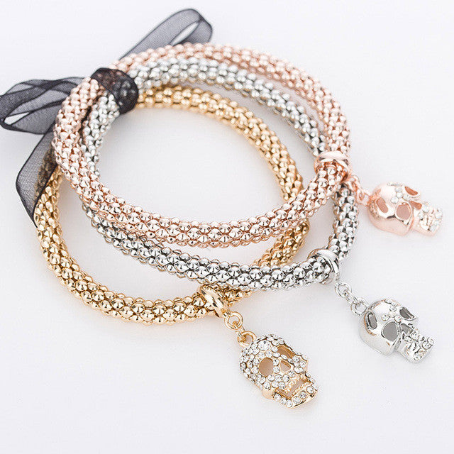 "Rose Gold/Silver/Gold ""3 In 1"" Rhinestone Bracelet Pack - Blown Biker - 7"