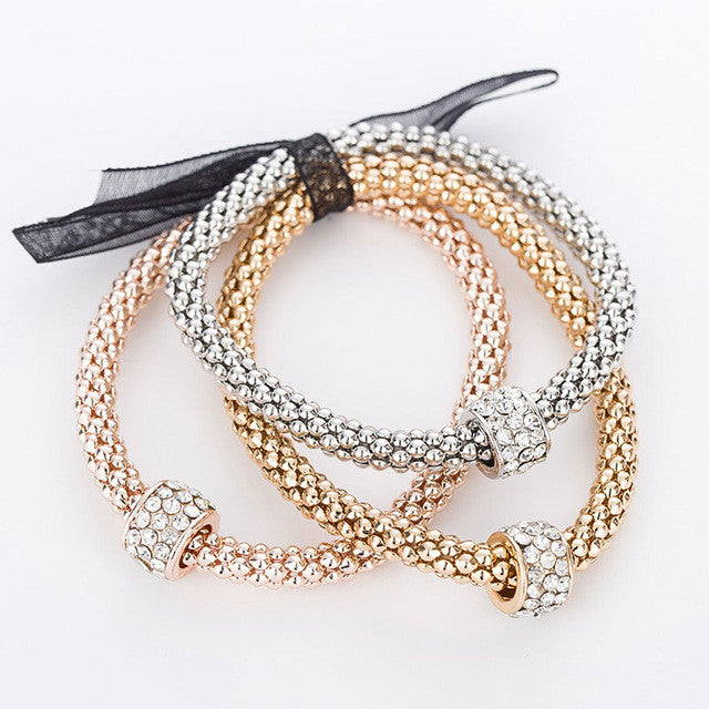 "Rose Gold/Silver/Gold ""3 In 1"" Rhinestone Bracelet Pack - Blown Biker - 8"