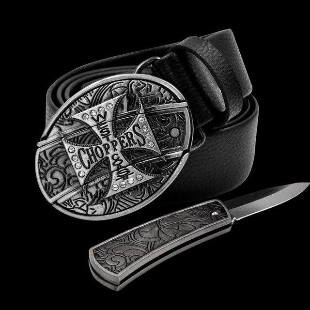 Leather Self Defence Belt with Hidden Knife - Blown Biker - 1