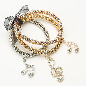 "Rose Gold/Silver/Gold ""3 In 1"" Rhinestone Bracelet Pack - Blown Biker - 18"