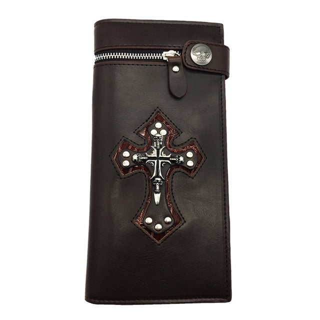 "Leather ""Skull Cross"" Bifold Wallet w/ Chain - Blown  Biker - 8"