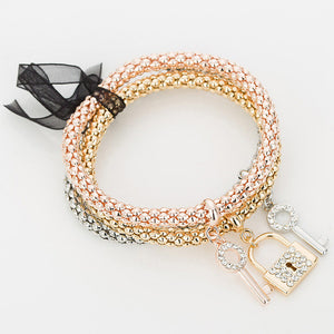 "Rose Gold/Silver/Gold ""3 In 1"" Rhinestone Bracelet Pack - Blown Biker - 22"