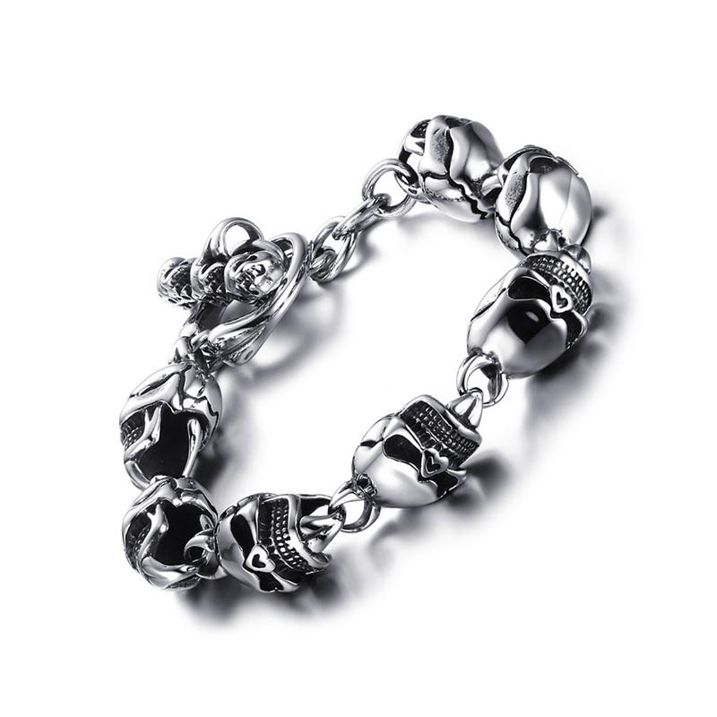 "316L Stainless Steel ""Punk Skull"" Bracelet - Blown Biker - 5"