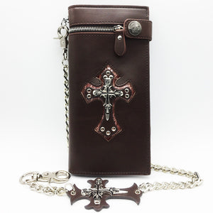 "Leather ""Skull Cross"" Bifold Wallet w/ Chain - Blown  Biker - 7"